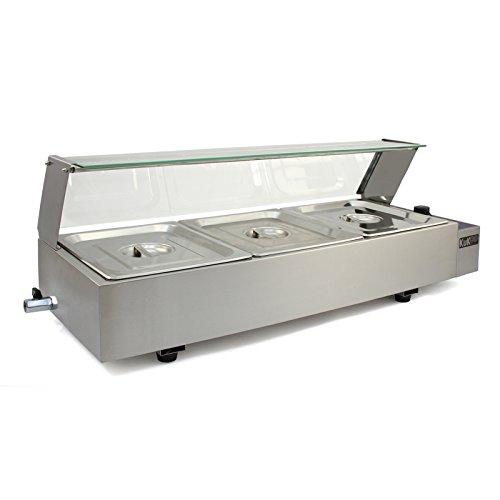 KuKoo Bain Marie / 3 Pan secco Beh Alimentazione Catering Più caldo / acciaio inox e vetro di schermo frontale