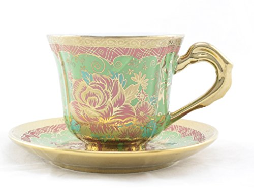 Ambilight Porcelain 6-Ounce Coffee Cup And Saucer Cyan Blue Chintz With Gold Trim,Set Of 2,Cyan Blue,E4