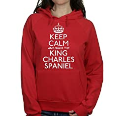 Keep calm and walk the King charles spaniel womens hooded top pet dog gift ladies Red hoodie white print