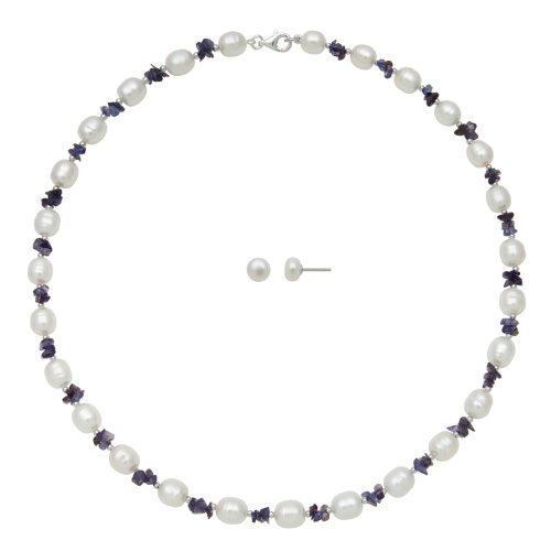 White Freshwater Pearl and Violet Iolite Necklace and Stud Earring Set, Free Shipping and Gift Box