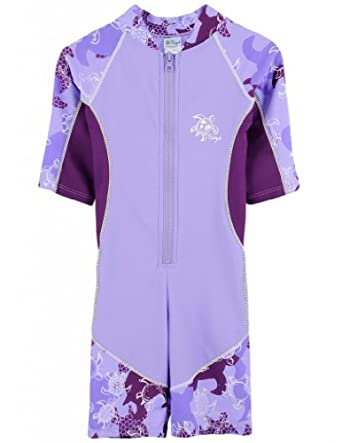 Tuga Girls Low Tide S/S Sunsuit (UPF 50+), Lavender, 2/3 yrs