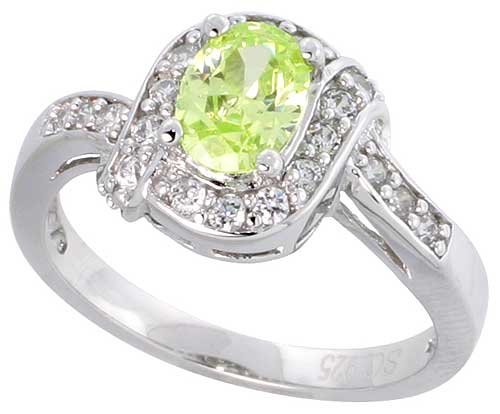 Sterling Silver Vintage Style Engagement ring, w/ a 7 x 5 mm (.75 ct) Oval Cut Light Peridot-colored CZ Stone, 7/16″ (11mm) wide, size 6
