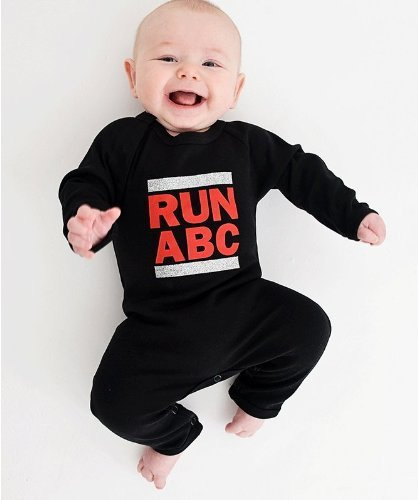 Nappy-Head-RUN-ABC-Babybody-im-Stil-von-RUN-DMC-schwarz-0-3-Monate-Babybody