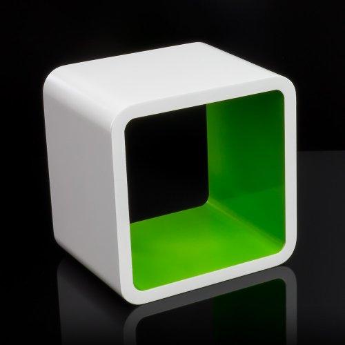 Homestyle4u Cube Wandregal Regal Bücherregal Hängeregal Retro Design weiss grün