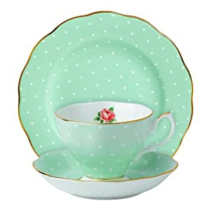 Royal Albert 3-Piece New Country Roses Teacup, Saucer and Plate Set,