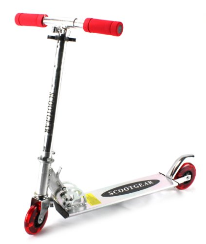 Scootgear Children'S Two Wheeled Metal Toy Kick Scooter W/ Adjustable Handlebar Height, Light Up Wheels (Red)