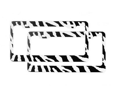 A Set of 2 Automotive License Plate Frame Metal - Zebra Black and White