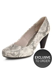 M&S Collection Leather Faux Snakeskin Print Court Shoes