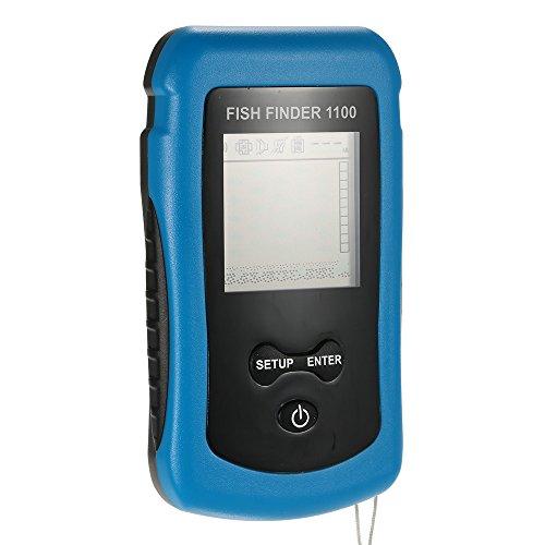 Docooler Détecteur de Poissons de pêche Transducteur d'Alarme Portable sans fil Poissons Sonar de Poisson Capteur Affichage Viseur LCD