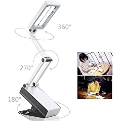 BestFire Protezione Degli Occhi Portable Desk Lamp LED (2 in 1: Stand sul proprio / clip Ovunque, pieghevole, ricaricabile, 2 luminosità impostata, bianco, 22 LED) Lettura lampada da Tavolo per Studiare, Lavorare, Viaggiare All'aperto