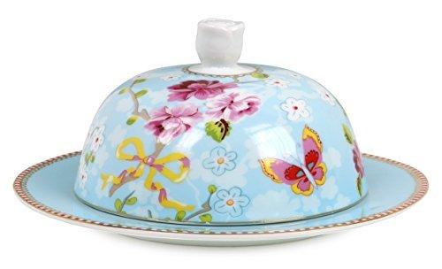 Pip Studio Chinese Rose Blue Porcelain 7 Inch Butter Dish With Cloche