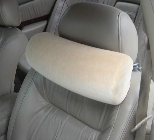 Memory Foam Car Neck Pillow With Headrest Strap (TAN)