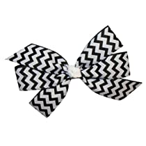 Hair Bows Large Chevron GrosGrain Bow with Tied Center on French Clip