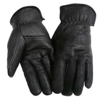 Mens Leather Deerskin gloves - Leatherbull (Free U.S. Shipping) (L, BLACK)