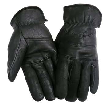 Mens Leather Deerskin gloves - Leatherbull (Free U.S. Shipping) (M, BLACK)