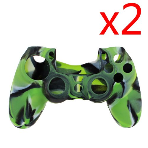 Accmart Protective Silicone Case Skin Cover for Sony Playstation 4 Ps4 Controller- Camouflage Navy Green(pack of 2)