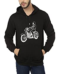 Weardo Men's Fleece Sweatshirt (WBikeBlackHood_Black_Small)