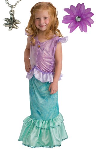 Mermaid Costume with Hair Bow and Wondercharms Necklace - size LARGE (5-7)
