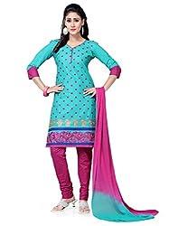 Saree Swarg Green and Pink Dress Material