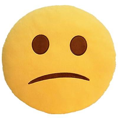 LI&HI 32cm Emoji Smiley Emoticon Yellow Round Cushion Pillow Stuffed Plush Soft Toy (Unhappy) by LI&HI