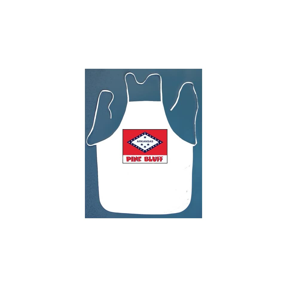 Pine Bluff Arkansas BBQ Barbeque Apron with 2 Pockets White