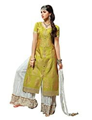 Mantra Fashion New Designer Printed Plazo Style Yellow And White Salwar Suit