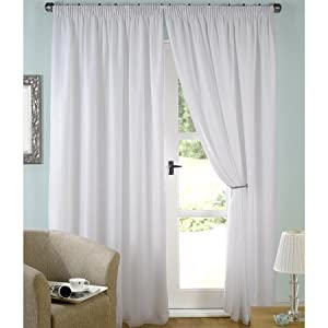 Luxury White Lined Voile Curtains 66 Wide X 90 Drop Kitchen Home
