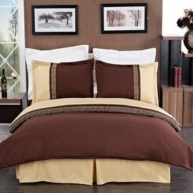 Egyptian Bedding Astrid Gold & Chocolate Embroidered 3-Piece Full Size Duvet Cover Set