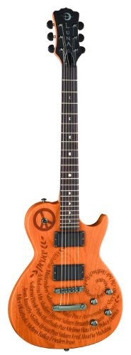 Luna Apollo Series Peace Electric Guitar - Etched Mahogany