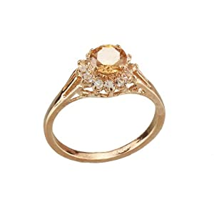 FM42 18k Yellow Gold Plated Princess Diana Style Champagne Crystal Engagement Ring Size 8