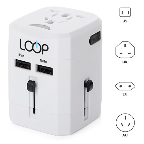 LOOP® BEST Worldwide Travel Adapter with Dual USB Charging Ports | International [US/UK/EU/AU] All-In-One Fused Safety AC Wall Charger Plug
