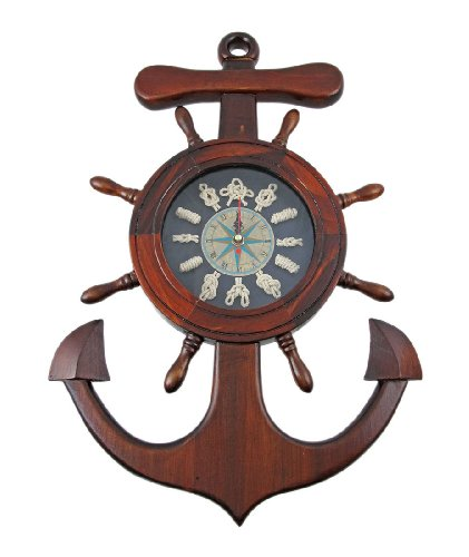 Wooden Ship's Wheel / Anchor Sailor's Knot Wall Clock