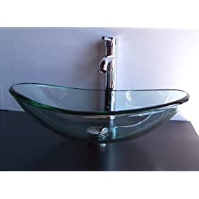 "5/8"" Thick Natural Clear Boat Shape Glass Vessel Sink and Chrome Finish Vessel Sink faucet"