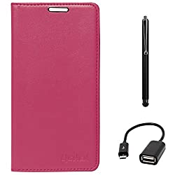 Lishen Premium Quality Leather Stand Flip Cover Case For Samsung Galaxy Note 4 N910 (Magenta) + USB OTG Cable + Stylus