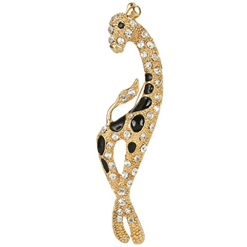 Giraffe Pendant Brooch Clear Austrian Crystal Black Enamel