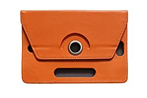"""Generic 360° Rotating 7"""" Inch Tablet Leather Flip Case Cover Book Cover With Stand For BSNL Penta TPad 73AAQ1 Legend -Orange"""