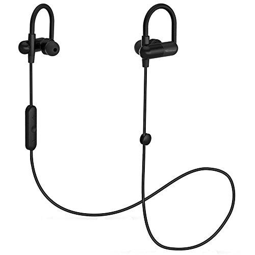 Bluetooth Kopfhörer TaoTronics Kabellose Sport Kopfhörer In Ear Kopfhörer Stereo Headset Wireless QY11 Ohrhörer Schweißabweisend beim Joggen und Trainieren (Bluetooth 4.0 + aptX, 8 Stunden Betriebszeit, Kabelklammer, sichere Haltebügel)