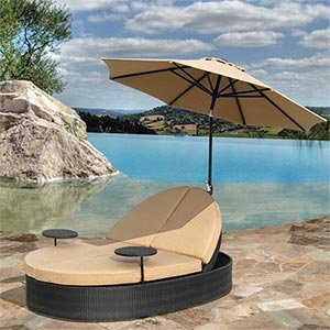 solana double chaise lounge and umbrella all weather resin wicker and sunbrella. Black Bedroom Furniture Sets. Home Design Ideas