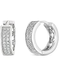 Mahi Rhodium Plated Double Line Pave Huggie Earrings With CZ For Women ER1100571R