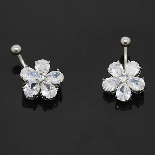 1 × 14G Plum Flower Navel Belly Button Bar Ring Body Jewelry Silver