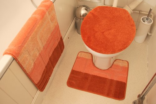 Terracota Bath Mat Set Bath Mat + Pedestal Mat + Toilet Seat Cover 3 Piece Set Non Slip Bathroom Rug Mat