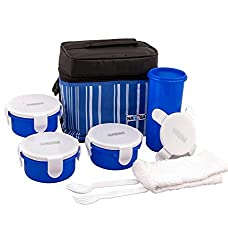 Nayasa Toasty Plastic Lunch Box, 4-Pieces, Blue