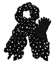 Per Una Heart Ruffle Scarf & Gloves Set