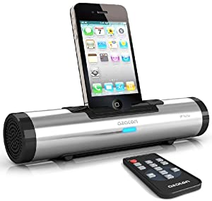 AZATOM® iFlute SILVER Docking station portable speaker for iPod & iPhone (Compatible with iPhone 3G, 3GS, 4, 4S - iPod nano 1,2,3,4,5,6th Generations, iPod Touch 2,3,4th - iPod Classics all) Unique design / quality sound / Audio output plus a remote control