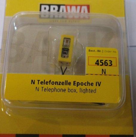 Brawa-4563-N-Telefonzelle-beleuchtet-Epoche-I-rund