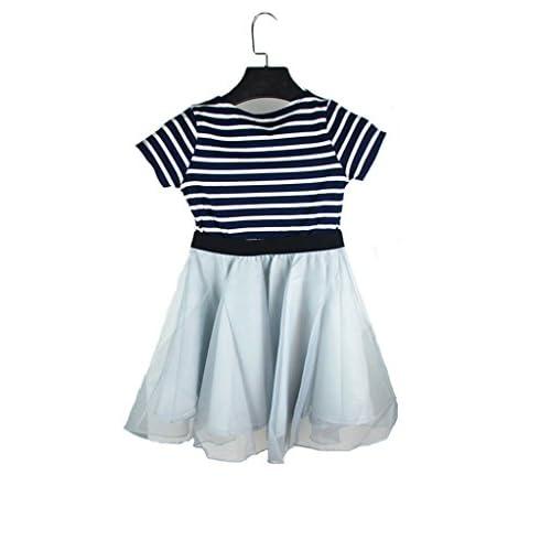 (ケイヨウ) JinYangガールズ ストライプ パッチワーク 半袖 夏 カジュアル 可愛い ドレス ネービー 110