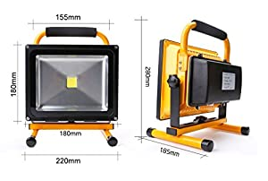 20W Portable LED Work Light Cordless Rechargeable IP65 12v LED Light Hand Lamp, LED Flood Lights Daylight White by Long Life Lamp Company