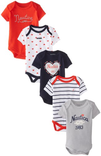 Nautica Baby-Girls Newborn 5 Pack L Bodysuits Combo 3, Assorted, 0-3 Months back-999208