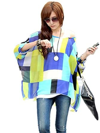 21secret Women's Round Neck Batwing Sleeve Semi Sheer Pullover Blouse