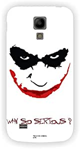 Warner Bros Dark Knight - Batman Joker Why so Serious Back Cover for Samsung Galaxy S4 Mini (White)